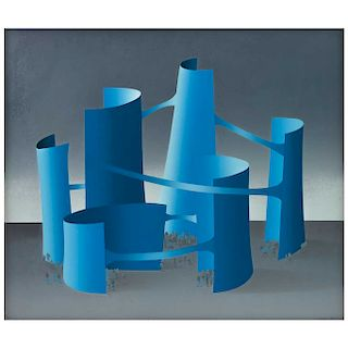 "KURT LARISCH, Blue Structures, Signed Screenprint 73 / 200, 25.5 x 29.5"" (65 x 75 cm)"