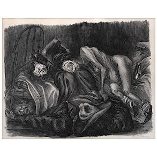 "JOSÉ CLEMENTE OROZCO,  Borrachos (Wild party), de la Suite Mexicana, Screenprint w/o printing number, 12.2 x 15.3"" (31 x 39 cm)"