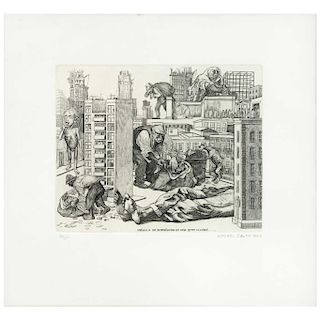 "ALFREDO ZALCE,México se transforma en una gran ciudad (""Mexico Turns Into a Great City""),Aquatint & dry point engraving 46 / 100,12.5x15.3""(32x39 cm)"
