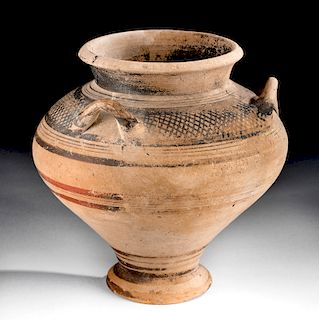 Elegant Greek Mycenaean Pottery Pyxis