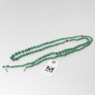 Chinese green jade & 18K beaded necklace