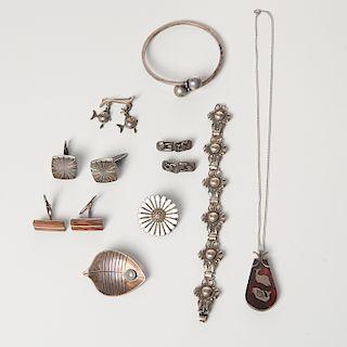 Scandinavian Modern signed silver jewelry group