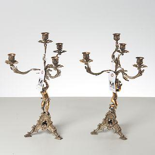 Pair Continental Rococo style vermeil candelabra