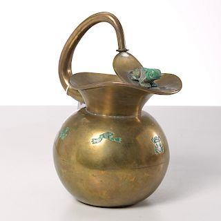 Los Castillo malachite and brass frog pitcher
