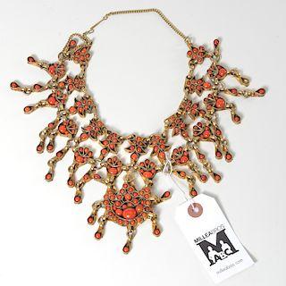 Vintage Southeast Asian style gilt bib necklace