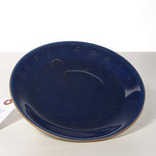 Chinese gilt cobalt blue porcelain plate