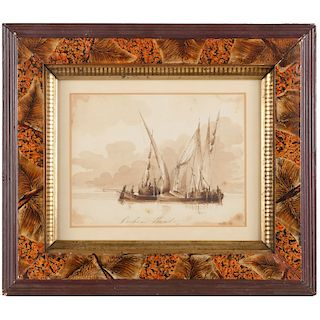 Continental School, maritime watercolor