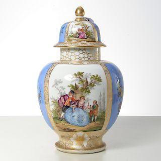 German Dresden hand-painted porcelain covered jar