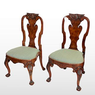 Pair antique George II style walnut side chairs