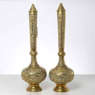 Pair large Moroccan pierced brass incense burners