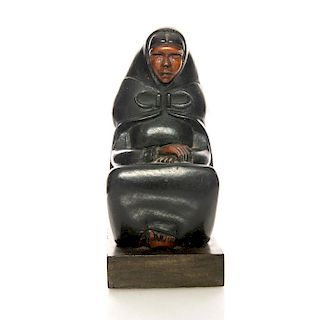 AFRICAN CARVED WOOD FIGURINE, SEATED WOMAN