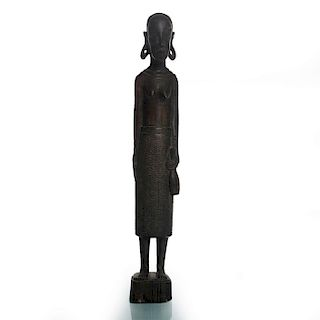 AFRICAN WOOD SCULPTURE OF WOMAN HOLDING JUG