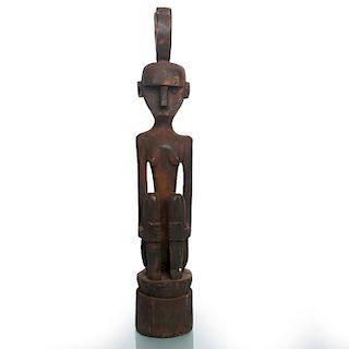 HAND CARVED WOOD AFRICAN FIGURAL SCULPTURE