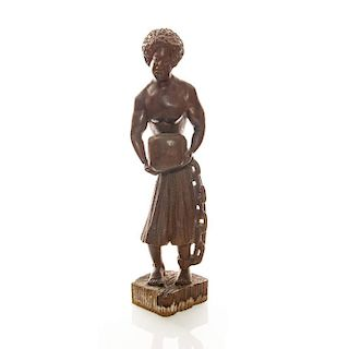 CARVED WOOD FIGURAL STATUETTE, AFRICAN SLAVE
