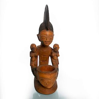 NIGERIAN TRIBAL WOOD SCULPTURE OF WOMAN AND MOLTAR