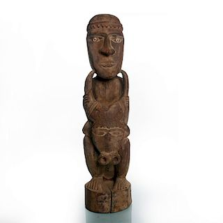 AFRICAN TRIBAL WOODEN SCULPTURE OF MAN WITH BULLS HEAD