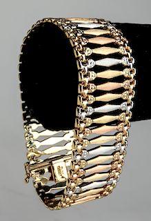 Turkish 14K Tri-Tone Gold Florentine Wide Bracelet