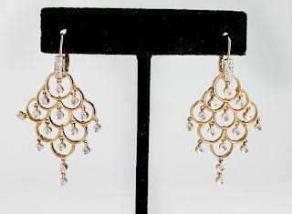 14K Yellow Gold & Diamond Chandelier Earrings