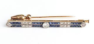 Art Deco 18K Yellow Gold Diamond Sapphire Pin