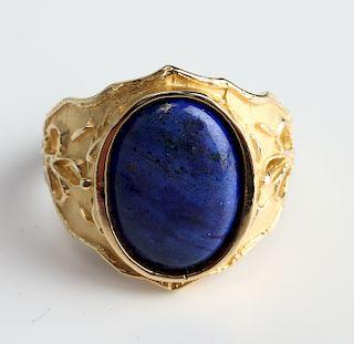 Vintage 14K Yellow Gold Lapis Ring