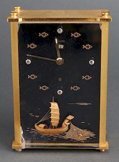 LeCoultre Brass & Lucite Chinoiserie Desk Clock