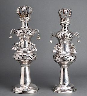 Judaica Sterling Silver Rimonim Torah Finials, 2
