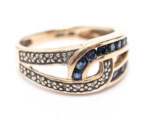 Vintage 10K Yellow Gold Sapphire & Diamond Ring