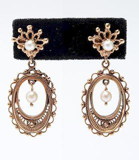 Vintage 14K Yellow Gold Pearl Filagree Earrings