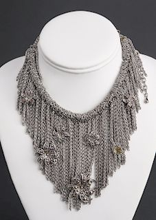 Fringe Collar Necklace with Ayu Dot Motif Flowers