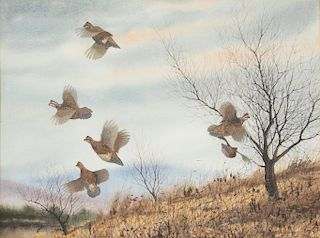 David A. Hagerbaumer (1921-2014)  Quail in Flight