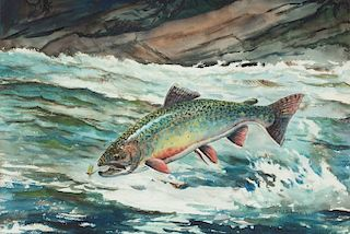 William J. Schaldach (1896-1982) Leaping Male Eastern Brook Trout