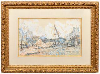 Paul Signac 'Le Pont de Saint Peres' W/C Gouache