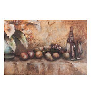 Carla Elena Name. Bodegón con manzanas y vidrio. Óleo sobre tela. Firmado y fechado 02. Enmarcado. Dimensiones: 60 x 90 cm.