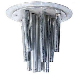 Lámpara de techo. Siglo XX. Elaborada en metal plateado. Estructura tubular. Electríficada para 13 luces.