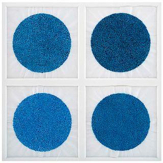 MARIO RANGEL FAZ, Sin título, Sin firma, Acuarela sobre papel, 57 x 57cm medidas totales, Piezas: 4, enmarcadas juntas, Con certificado