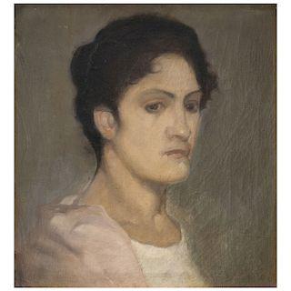 ROSARIO CABRERA, Mujer con chalina rosa, Sin firma, Óleo sobre tela, 37.5 x 34.5 cm