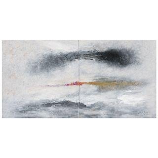 ANTONIO GALVÁN DUQUE, Arcoiris, Firmado y fechado 18, Acrílico sobre tela, díptico, 86 x 172 cm medidas totales, Con certificado