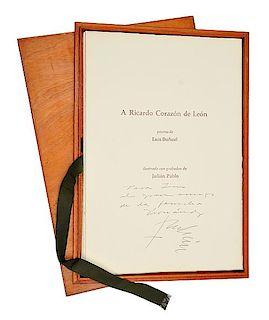 Buñuel, Luis. A Ricardo Corazón de León. México, 1981. 5 grabados de Julián Pablo; 5 Poemas de Buñuel. Edición de 40 carpetas.
