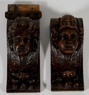 Two Continental Carved and Stained Wood Corbels