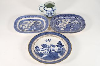 Group, Five Pieces of Blue and White Porcelain