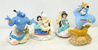 Group, 4 Schmid 'Aladdin' Musical Figurines
