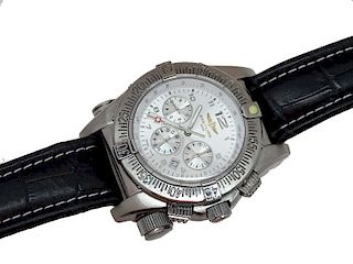 Breitling Stainless Steel Leather Strap Mens Watch