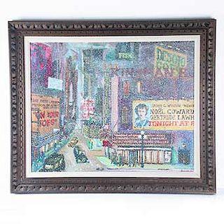 """Harry Walker (U.S.A 1947 - ). Siglo XX. """"Snowy Nigth"""". Acrílico sobre lienzo. Firmado y fechado 1973. Enmarcado en madera."""
