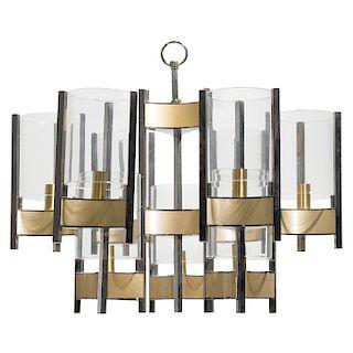 GAETANO SCIOLARI. Años 60. Candil. Estructura de metal cromado y dorado. Para nueve luces. Con pantallas cilíndricas de vidrio.