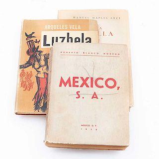 Lote de libros. Siglo XX. Blanco Moheno, Roberto. México S. A. México: Manuel Casas, 1958. Luzbela y a la orilla de este río. 3 pzs.