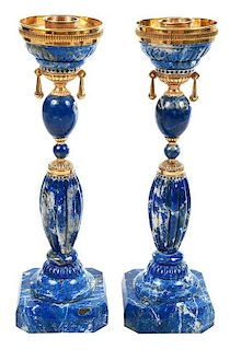 Fine Pair Verdura Lapis and Gold Candlesticks