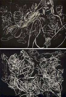 2 David Salle Aquatints, Signed Editions