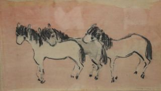 Moura Chabor. Signed Watercolor Horses.