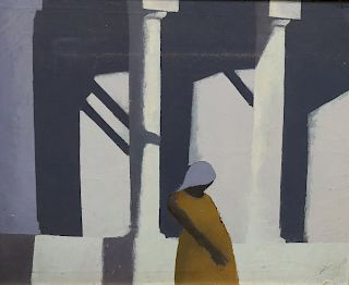 "Rodney. Signed oil On Canvas ""Barclays Columns"""
