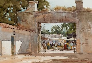 Lowell Ellsworth Smith | Marketplace through Archway, Mexico